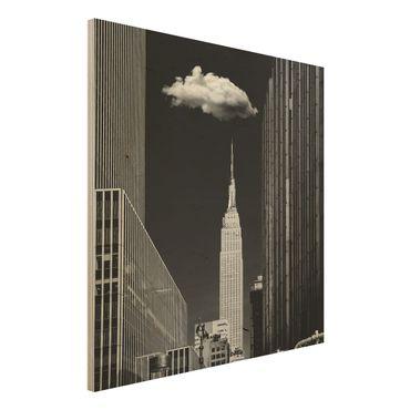 Quadro in legno - New York Con nuvola - Quadrato 1:1