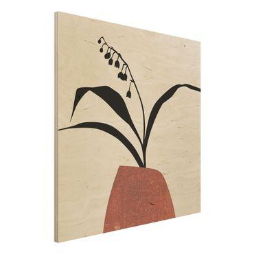 Stampa su legno - Mondo vegetale grafico - Mughetto - Quadrato 1:1