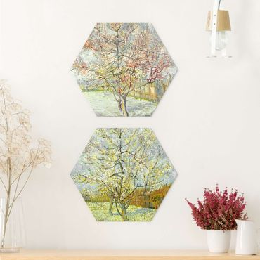 Esagono in Alu-dibond - Vincent Van Gogh - Blooming Peach alberi del giardino