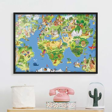 Poster con cornice - Great And Funny Worldmap - Orizzontale 3:4