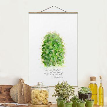 Foto su tessuto da parete con bastone - Cactus Con I versetti biblici - Verticale 3:2