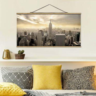 Foto su tessuto da parete con bastone - Manhattan Alba - Orizzontale 1:2