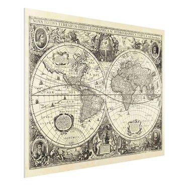 Stampa su Forex - Illustrazione Vintage Mappa del mondo antico - Orizzontale 3:4