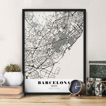 Poster con cornice - Barcelona City Map - Classic - Verticale 4:3