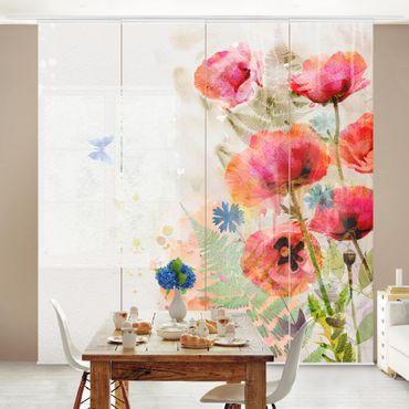 Tende scorrevoli set - Watercolour Poppy Flowers