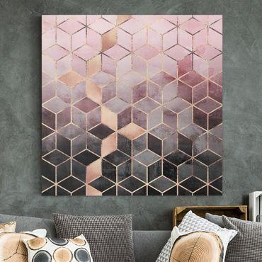 Quadri su tela - Rosa d'Oro Grigio Geometria