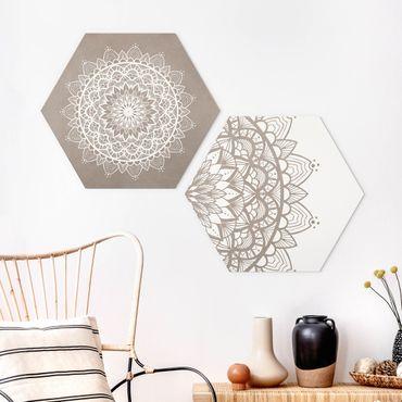 Esagono in forex - Mandala Illustrazione Shabby Set Beige Bianco