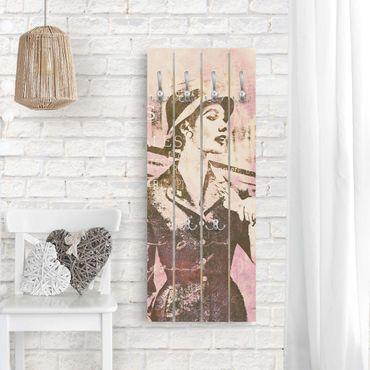 Appendiabiti in legno - Vintage Collage - Parisienne - Ganci cromati - Verticale