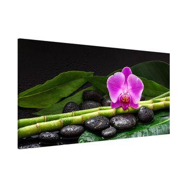 Lavagna magnetica - Green Bamboo Con L'orchidea Blossom - Panorama formato orizzontale