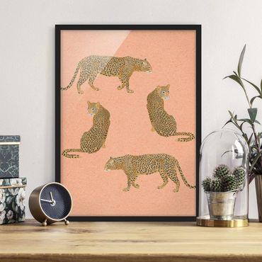 Poster con cornice - Illustrazione Leopard Rosa Pittura - Verticale 4:3