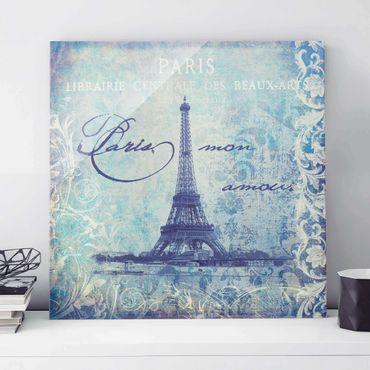 Quadro in vetro - Vintage Collage - Paris Mon Amour - Quadrato 1:1