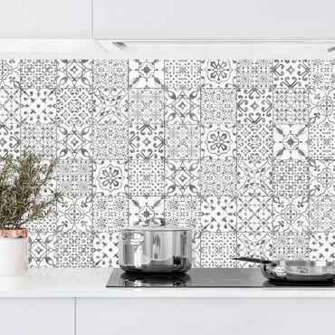 Rivestimento cucina - Motivo piastrelle grigio e bianco