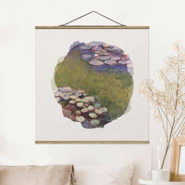 Foto su tessuto da parete con bastone - Acquarelli - Claude Monet - Ninfee - Quadrato 1:1