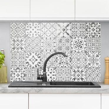 Paraschizzi in vetro - Pattern Tiles Gray White