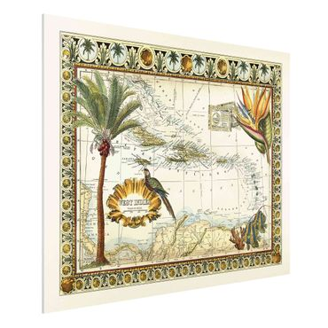 Stampa su Forex - Vintage Tropical Mappa West India - Orizzontale 3:4