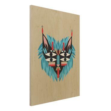 Stampa su legno - Collage Mask Ethnic - Lion - Verticale 4:3