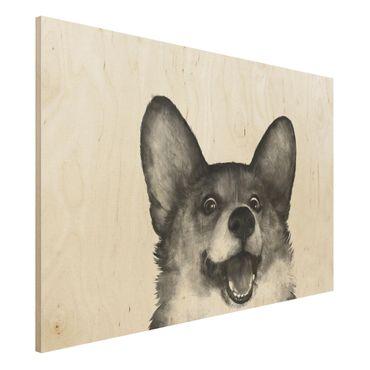 Stampa su legno - Illustrazione Cane Corgi Bianco Nero Pittura - Orizzontale 2:3