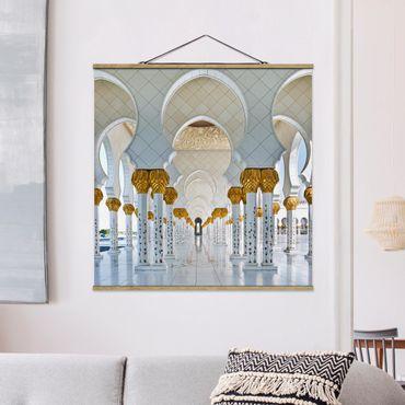 Foto su tessuto da parete con bastone - Moschea di Abu Dhabi - Quadrato 1:1