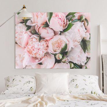 Quadri su tela - Rosa peonia con foglie