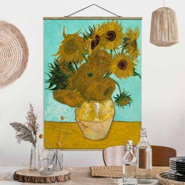 Foto su tessuto da parete con bastone - Vincent Van Gogh - Vaso con girasoli - Verticale 4:3