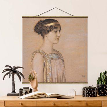 Foto su tessuto da parete con bastone - Franz von Stuck - Ritratto Di Maria - Quadrato 1:1