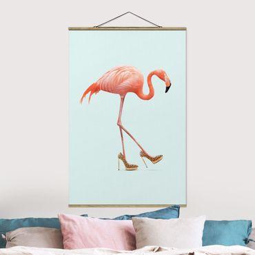 Foto su tessuto da parete con bastone - Flamingo con tacchi alti - Verticale 3:2