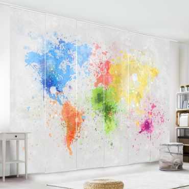 Tende scorrevoli set - Colourful Splashes World Map