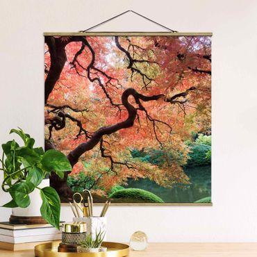 Quadro su tessuto con stecche per poster - Giardino Giapponese - Quadrato 1:1