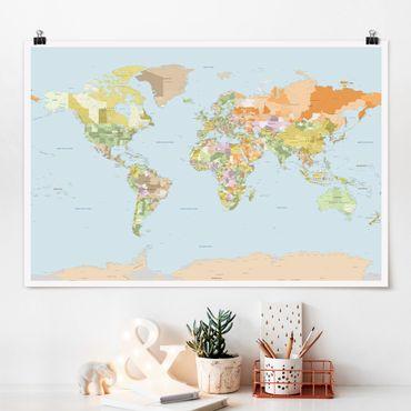 Poster - Mappa politica del mondo - Orizzontale 2:3