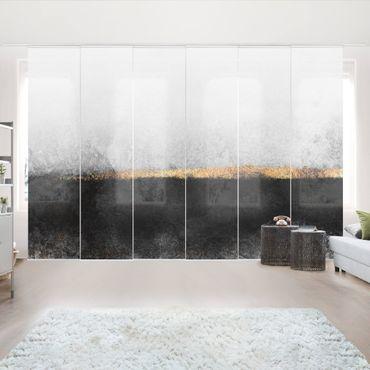 Tende scorrevoli set - Elisabeth Fredriksson - Estratto Golden Horizon Bianco e nero - 6 Pannelli