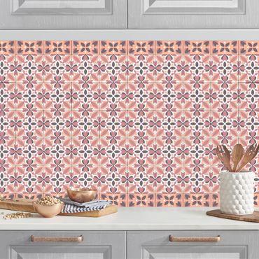 Rivestimento cucina - Piastrelle geometriche mix Blossom arancione
