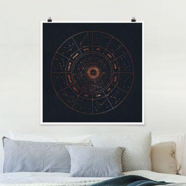 Poster - Astrologia i 12 segni dello zodiaco Blue Gold - Quadrato 1:1
