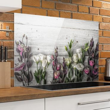 Paraschizzi in vetro - Tulip Rose Shabby Wood Look