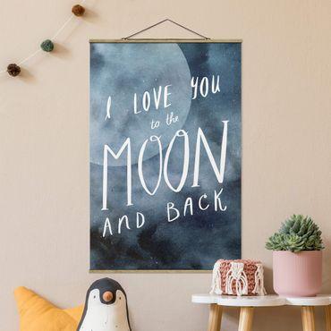Foto su tessuto da parete con bastone - Amore celeste - Luna - Verticale 3:2