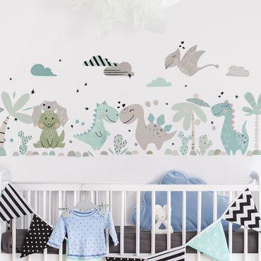 Adesivo murale - Dino Set Pastel