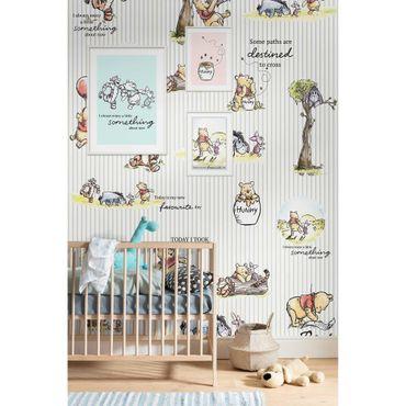 Carta da parati per bambini - Winnie Pooh - Stripes - Komar fotomurale