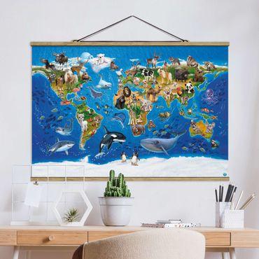 Foto su tessuto da parete con bastone - Animal Club International - Mondo Mappa con animali - Orizzontale 2:3