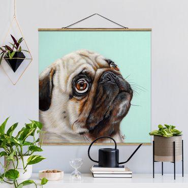 Foto su tessuto da parete con bastone - premiare Pug - Quadrato 1:1