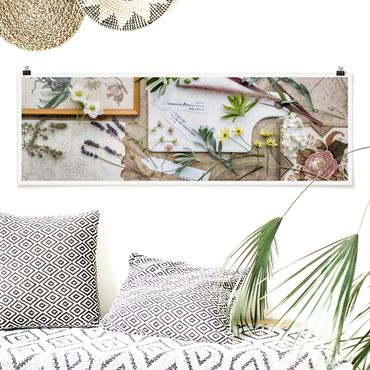Poster - Fiori E Garden Erbe Vintage - Panorama formato orizzontale