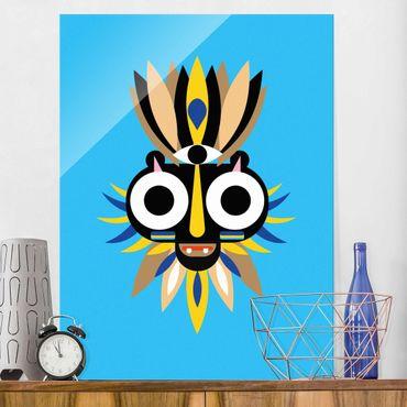 Quadro in vetro - Collage Mask Ethnic - Big Eyes - Verticale 4:3