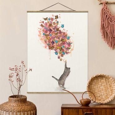 Foto su tessuto da parete con bastone - Laura Graves - Illustrazione del gatto con farfalle colorate Pittura - Verticale 4:3