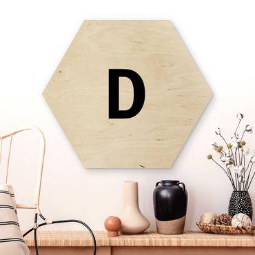 Esagono in legno - Lettera D Bianco