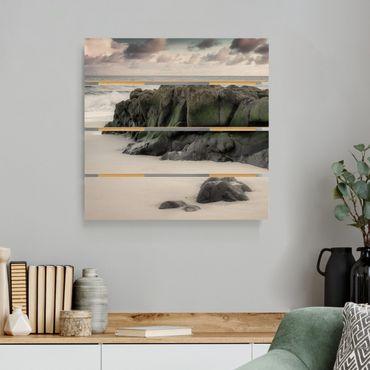 Stampa su legno - Rocce sulla spiaggia - Quadrato 1:1
