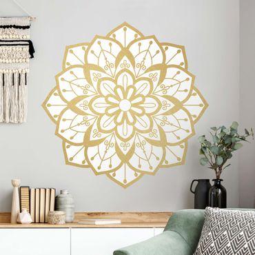 Adesivo murale - Mandala modello Fiore in oro bianco