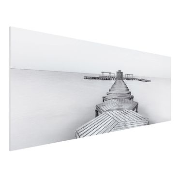Quadro in forex - Molo in legno Bianco e nero - Panoramico