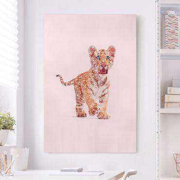 Stampa su tela - Tiger con glitter - Verticale 3:2