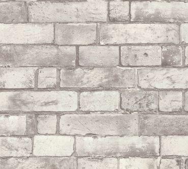 Carta da parati - A.S. Création Authentic Walls 2 in Grigio Bianco