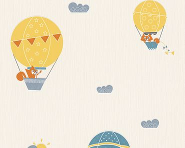 Carta da parati - Esprit Esprit Kids 5 Flying Balloon in Blu Crema Arancione