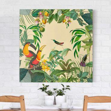 Stampa su tela - Vintage Collage - Birds In The Jungle - Quadrato 1:1