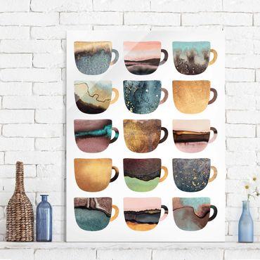 Quadro in vetro - Tazze di caffè variopinte con oro - Verticale 4:3